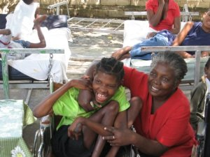 Sister Marie Passe and young girl at the Little Children of Jesus Home