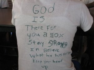 On the back of a shirt of one of the young girls at the Maison D'Amor Girls Home.